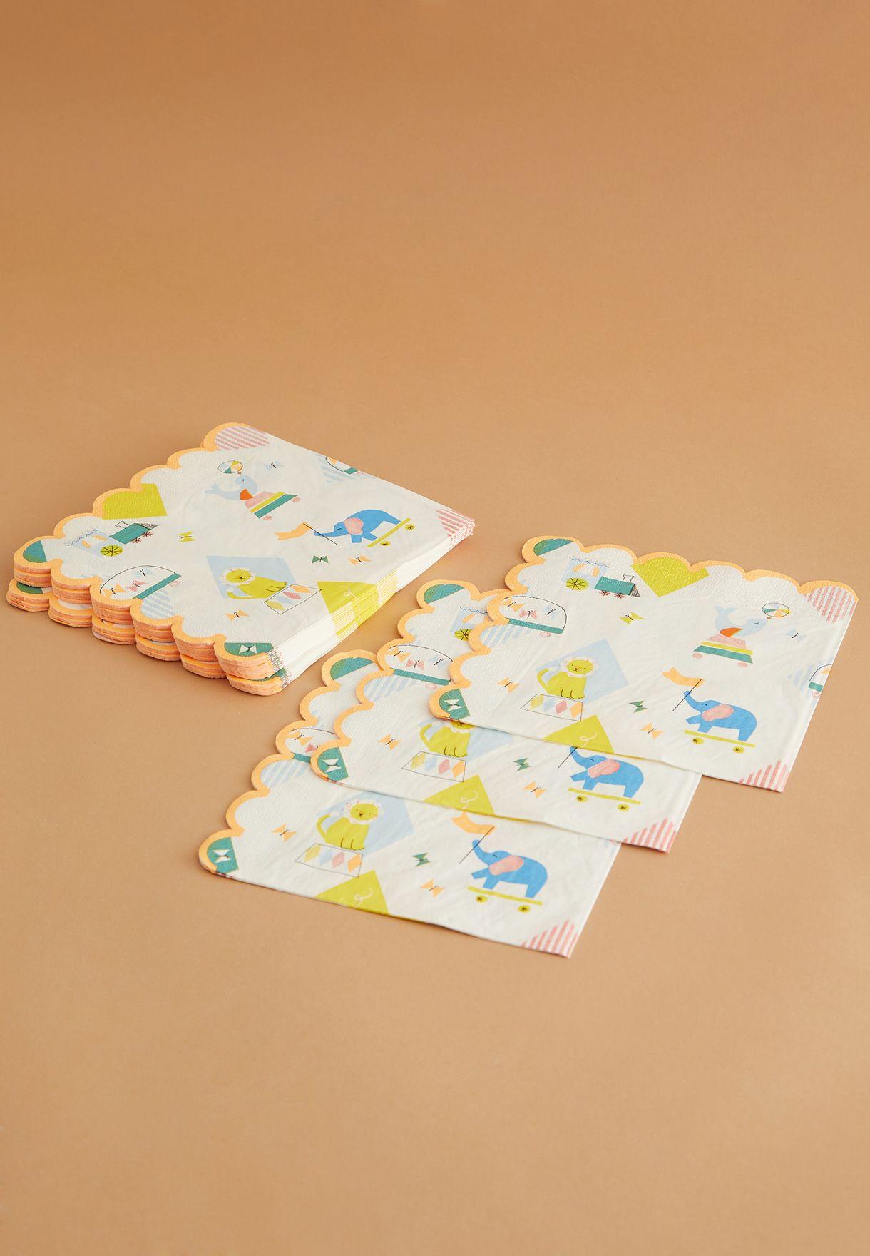 مجموعة من 20 منديل ورقي بطبعات حيوانات السيرك