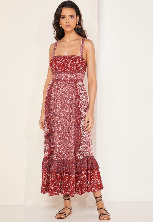 c72ba27b44 Yesica Ruffle Detail Printed Dress