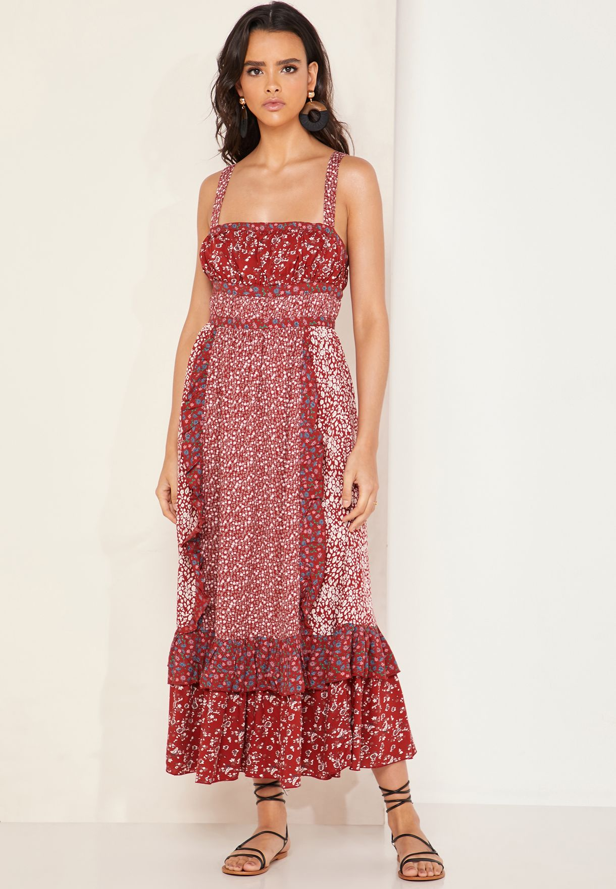 535dc025d8da Shop Free People red Yesica Ruffle Detail Printed Dress OB920086 for ...