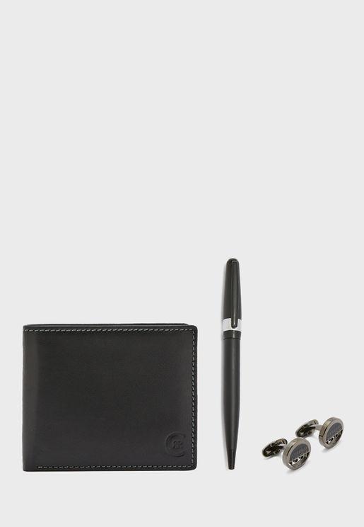 مجموعة محفظة وقلم حبر وازرار اساور