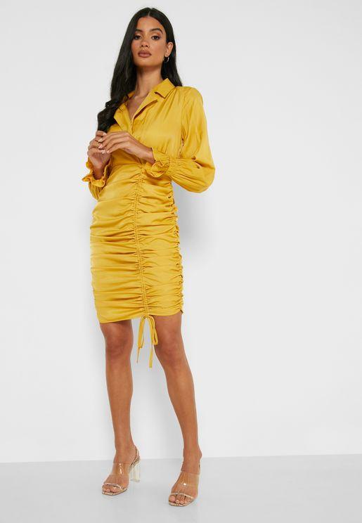 Puffed Sleeve Ruched Mini Dress