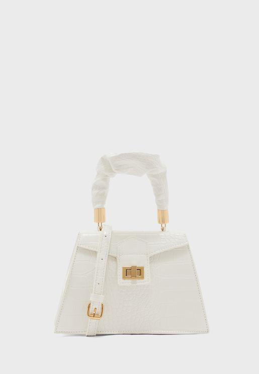 Ruched Handle Mini Satchel Bag