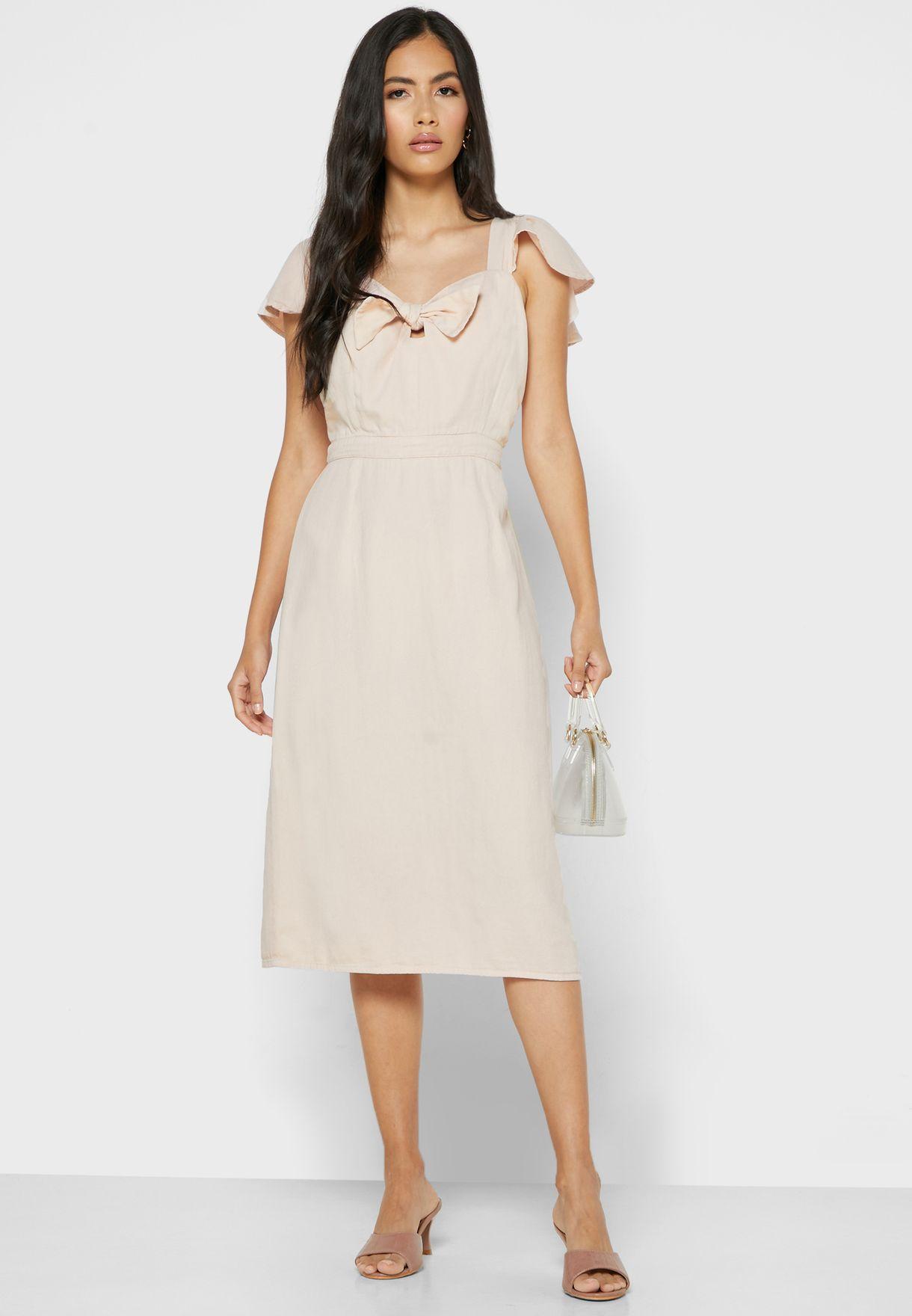 Tie Front Keyhole Mini Dress