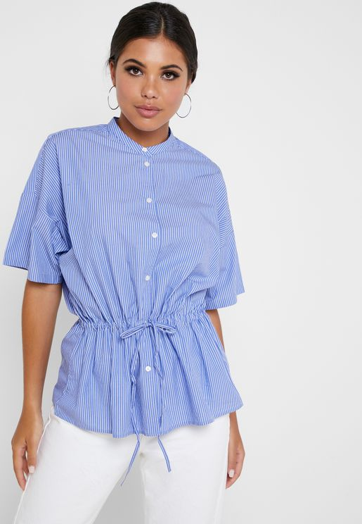 Drawstring Button Down Striped Top
