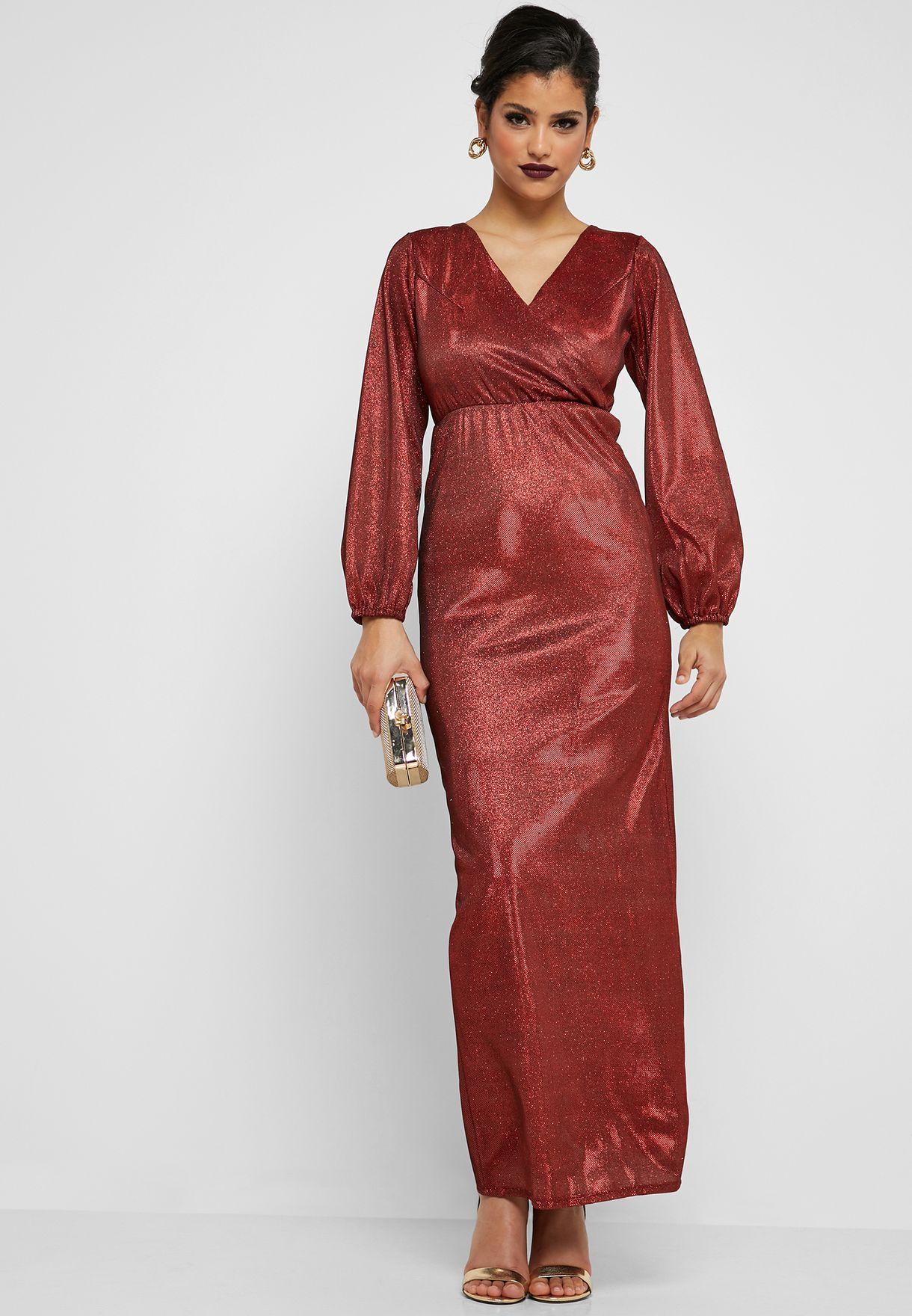 Lurex Wrap Front Maxi Dress
