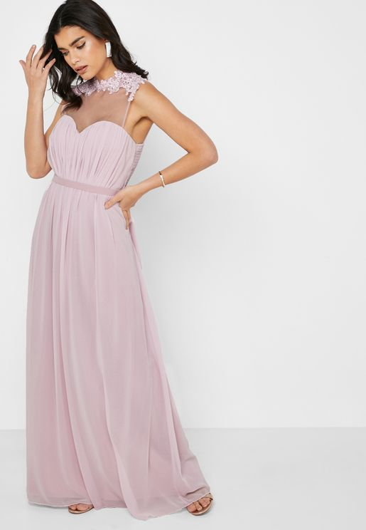 High Neck Lace Mesh Dress