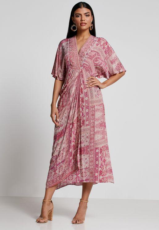Pleat Detail Surplice Dress