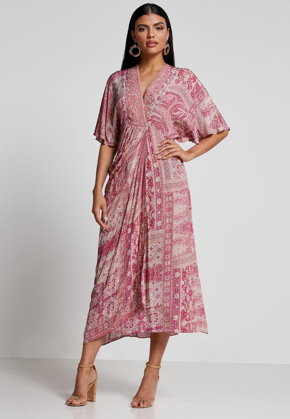 فستان مطبع مزين بترتر
