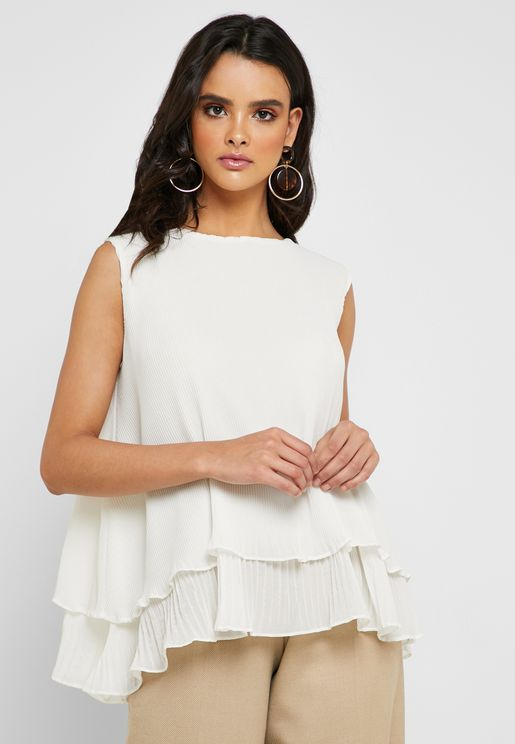 Pleated Layered Top