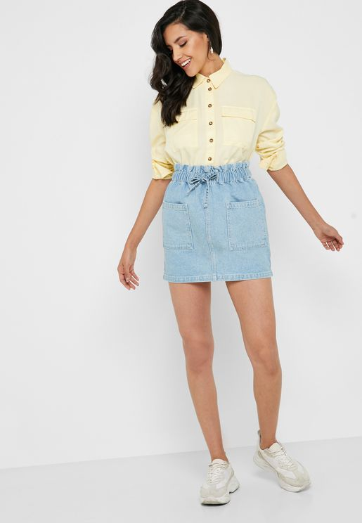 Tie Waist Pocket Detail Denim Skirt