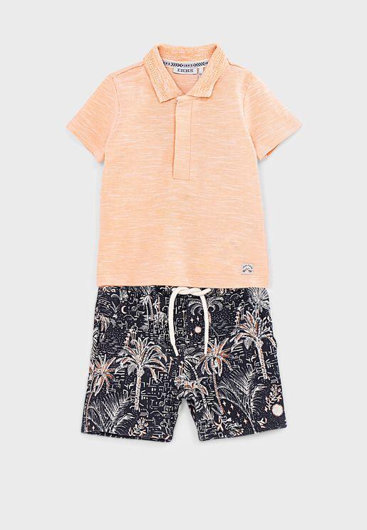 Infant Polo + Printed Shorts Set