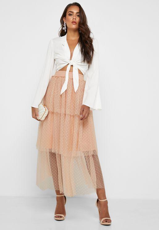Dot Print Layered Skirt