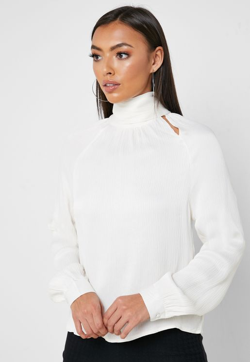 High Neck Cut Out Top