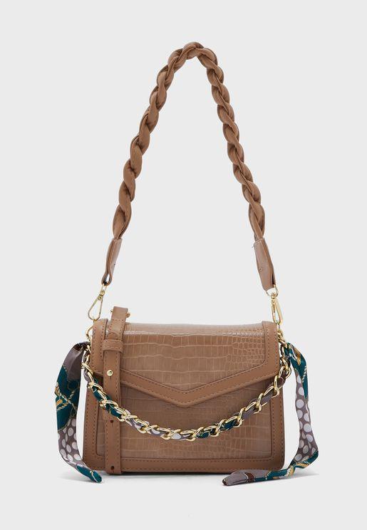 Croc Handbag With Scarf Tie Chain Strap