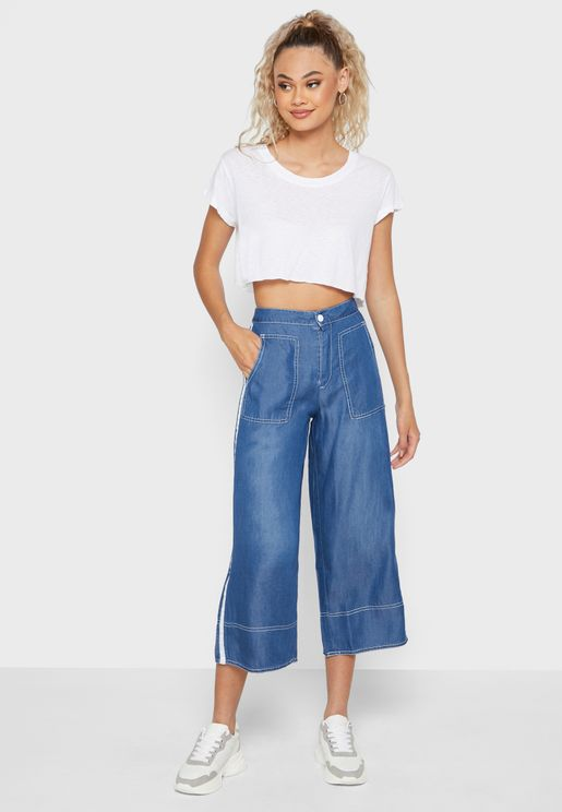 Side Panelled Wide Leg Jeans