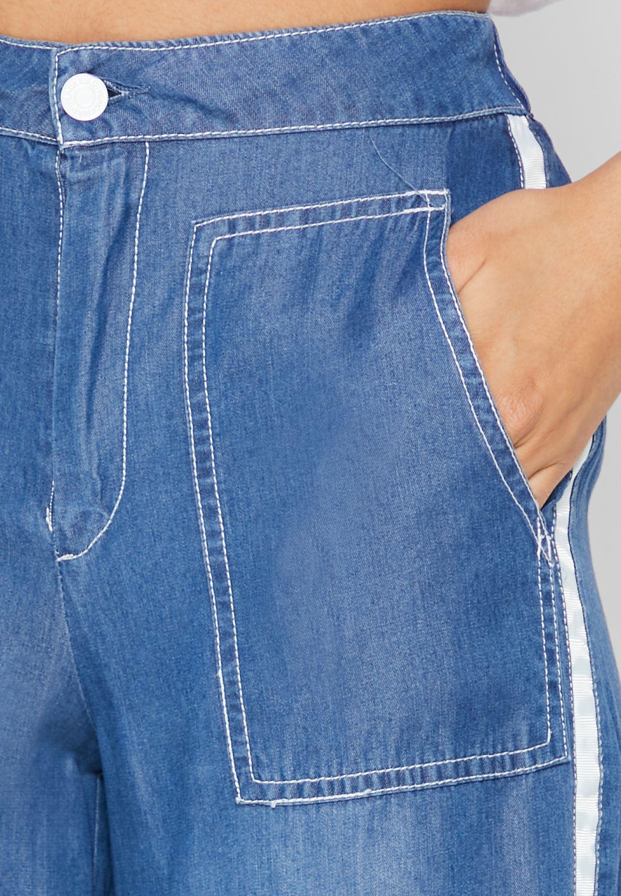 Side Panelled Wide Leg Jeans