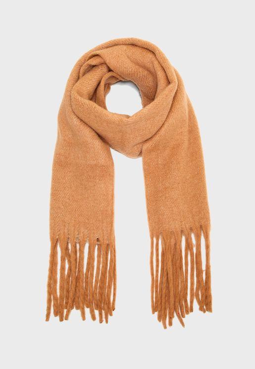 Fringed Edge Wool-Blend Scarf