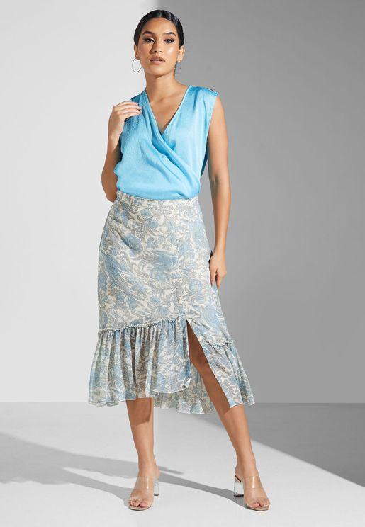 Floral Print Ruffle Detail Skirt