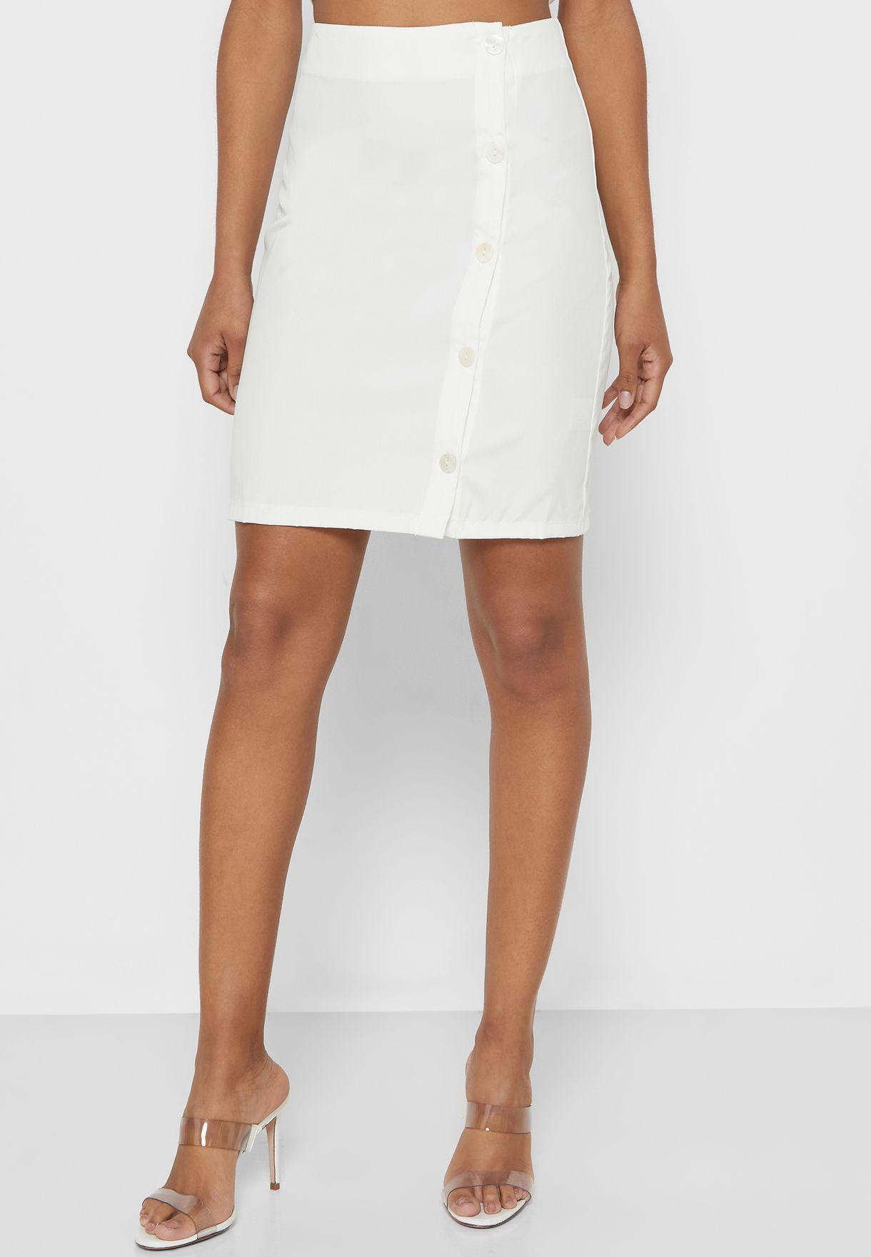 Side Button Crop Top Mini Skirt Set