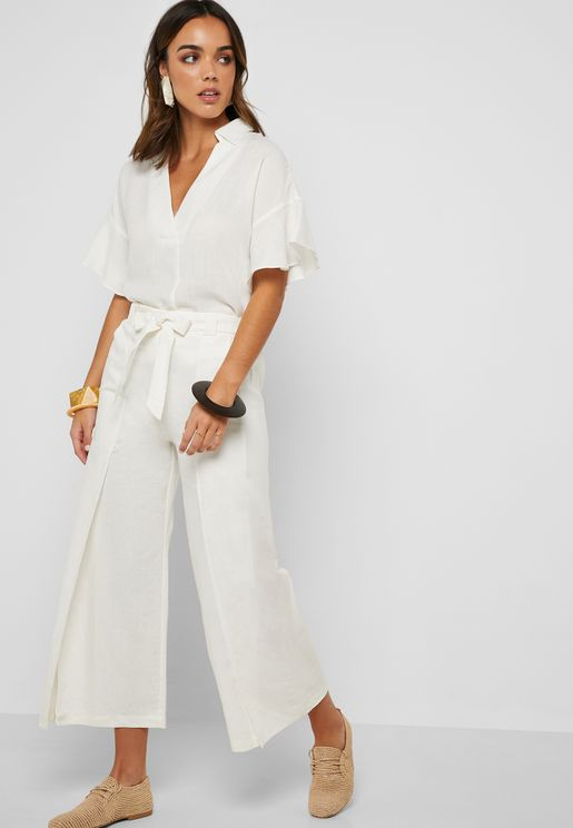 Front Slit Self Tie Pants