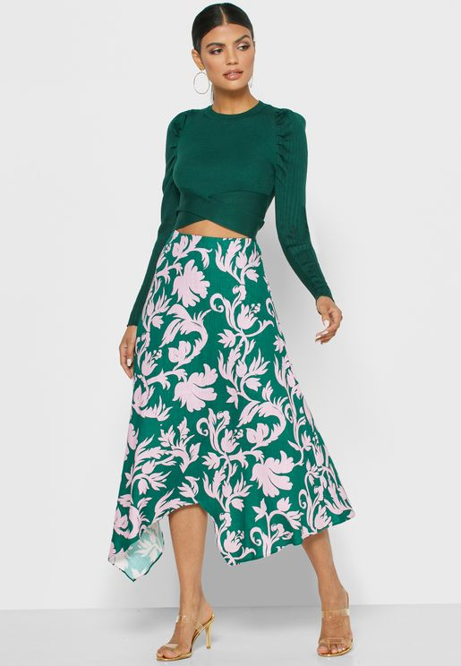 Wistful Printed Asymmetric Skirt