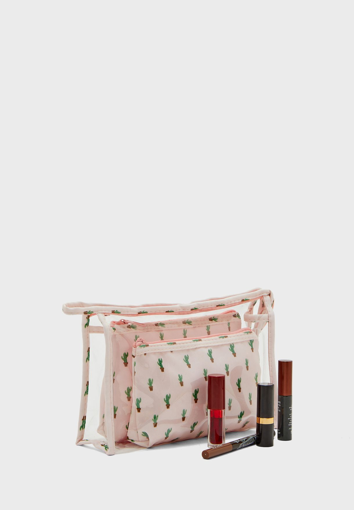 Set of 3 Cactus Cosmetic Bag