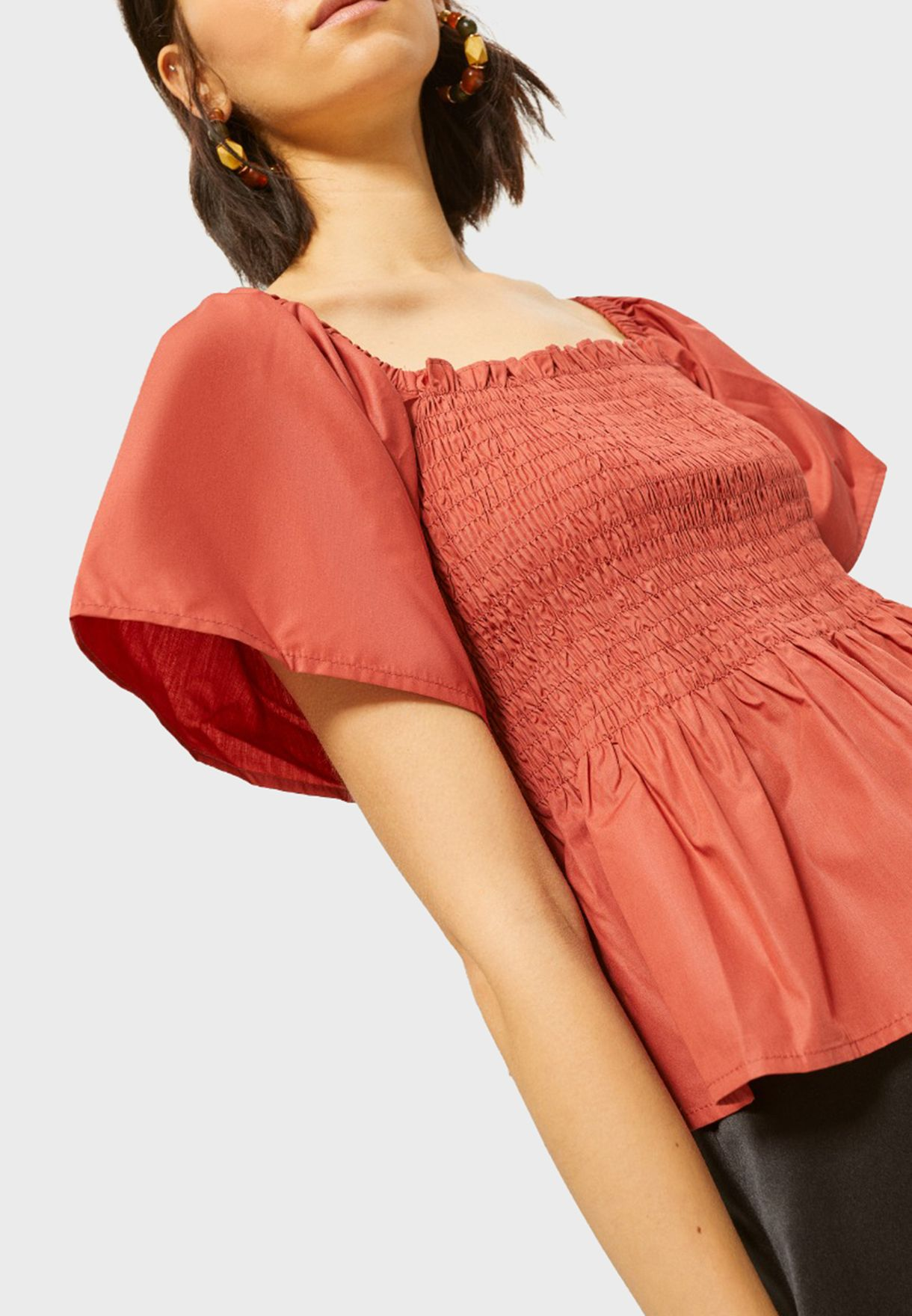 Wide Sleeve Ruffle Hem Top
