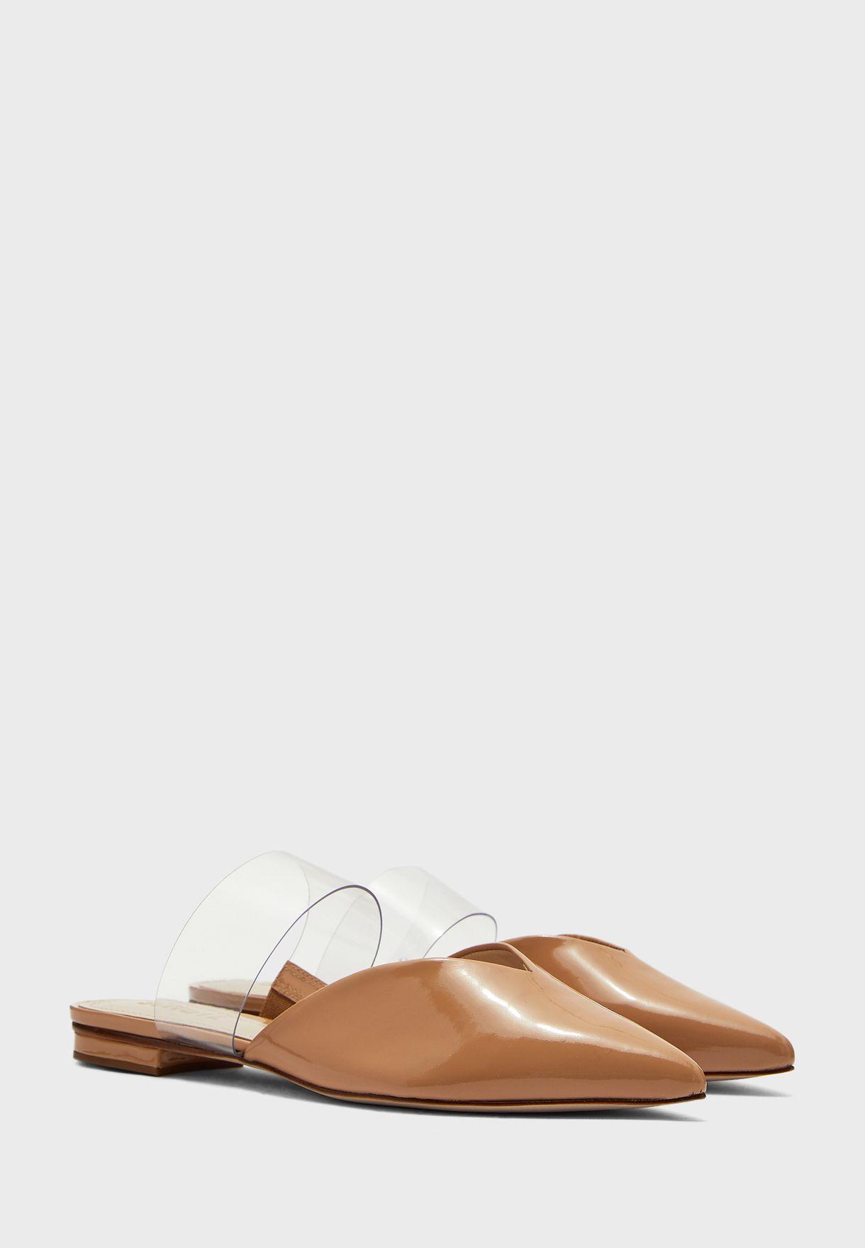 حذاء جلد اصلي بكعب صغير
