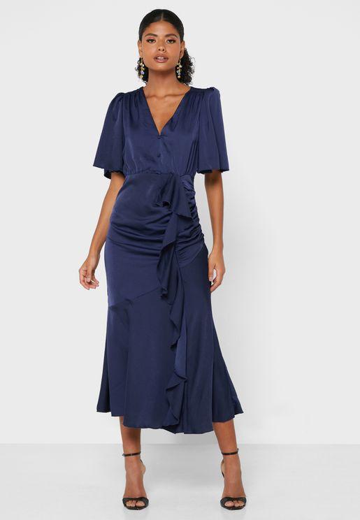 Lace Detail Wrap Dress
