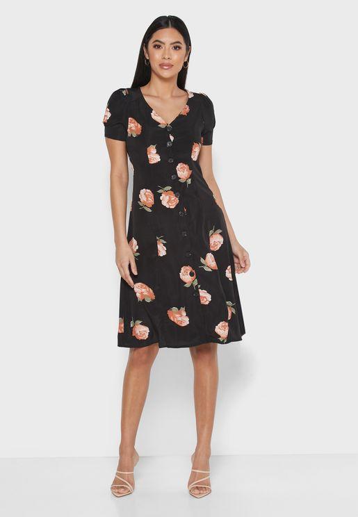 Floral Print Button Down Midi Dress