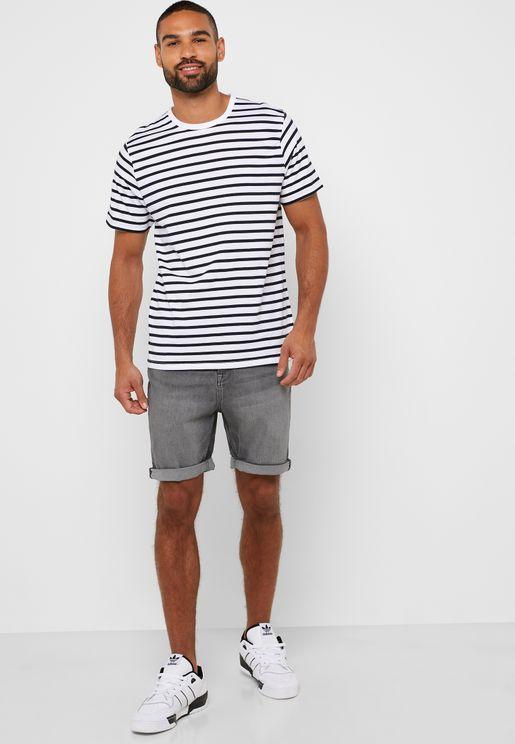 Side Stripe Denim Shorts