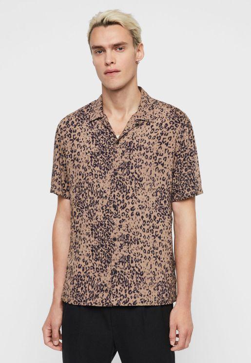 Leopard Print Slim Fit Shirt