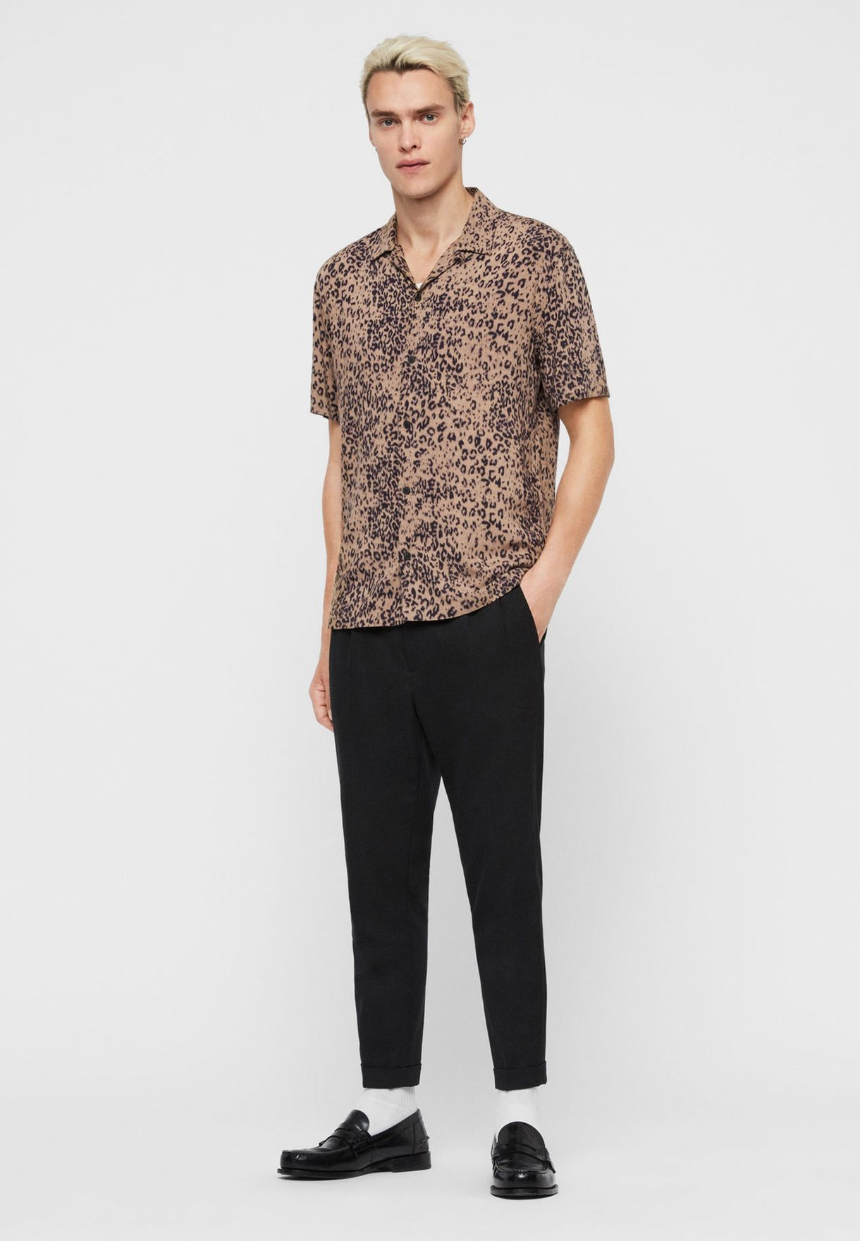 Leopard Print Slim Fit Shirt