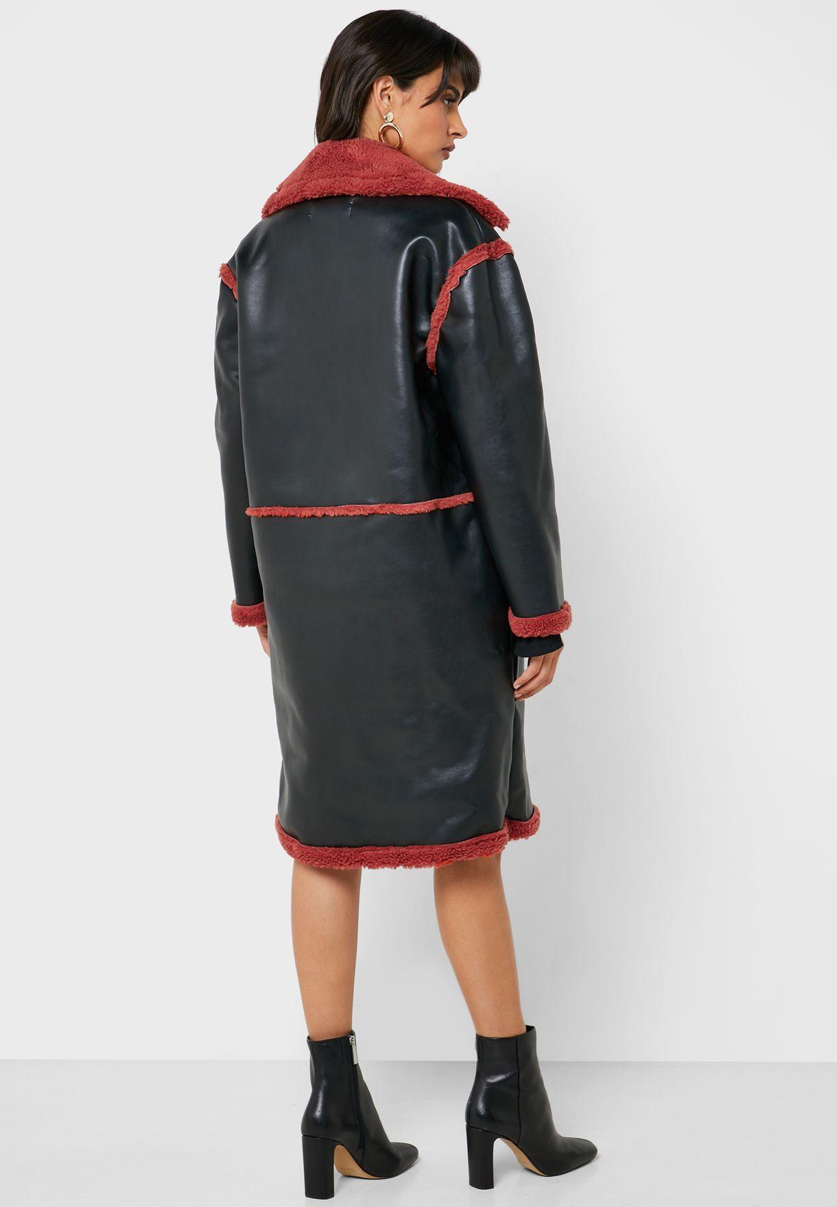 معطف طويل باجزاء مغايرة