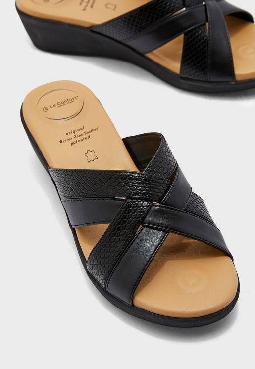 Cross Strap Mid Heel Wedge Sandal