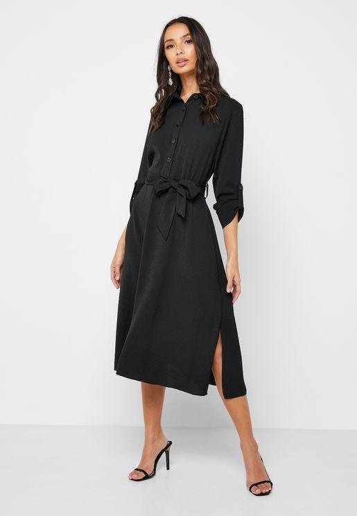 Belted Shirt Dress