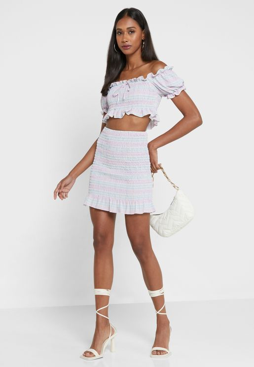 Pink Petite Woven Off The Shoulder Shirred Top