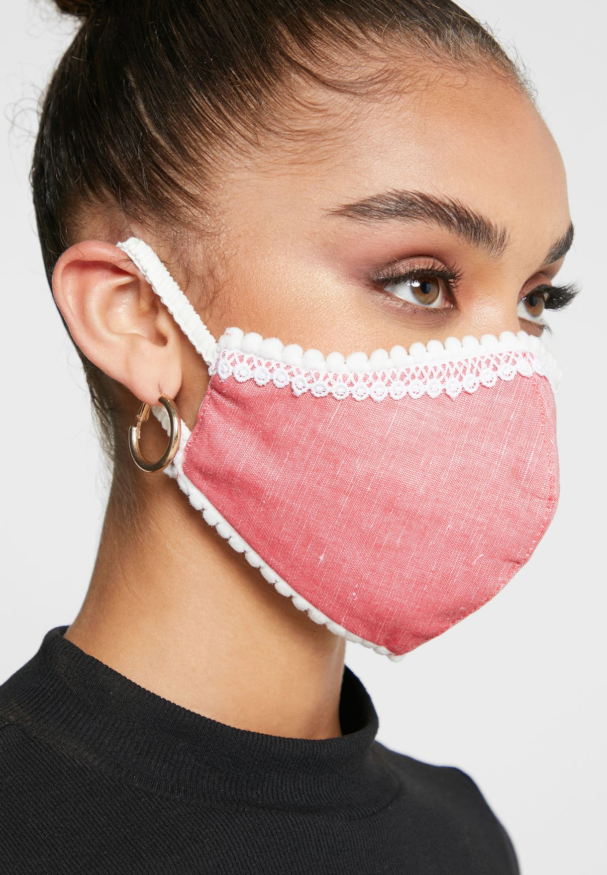 Linen Mask With Embroidered Trim