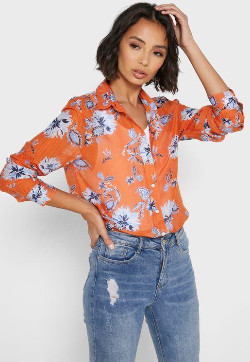 قميص بطباعة ازهار