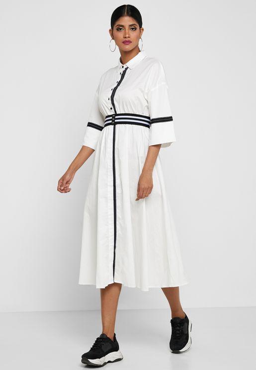 Contrasting Stripe Shirt Dress