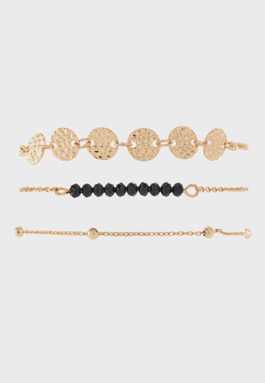 Embellished Set Of 3 Bracelets