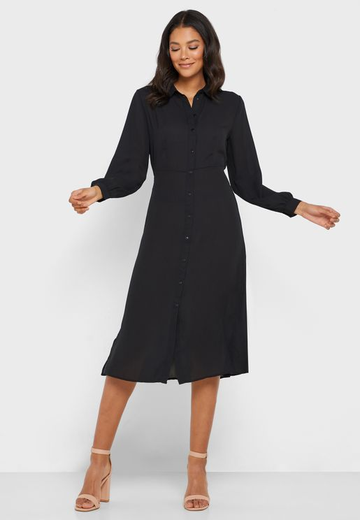 Button Through Long Sleeve Shirt Dress