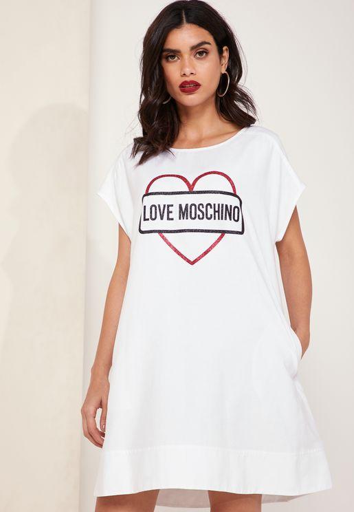 Heart Print Logo T-Shirt Dress