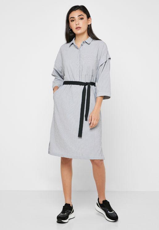Belted Pocket Detail Dress