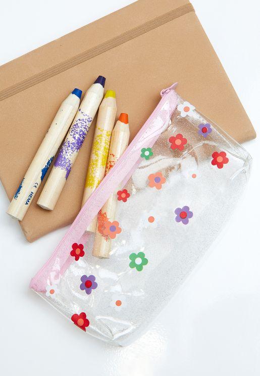 Floral Transparent Pencil Case