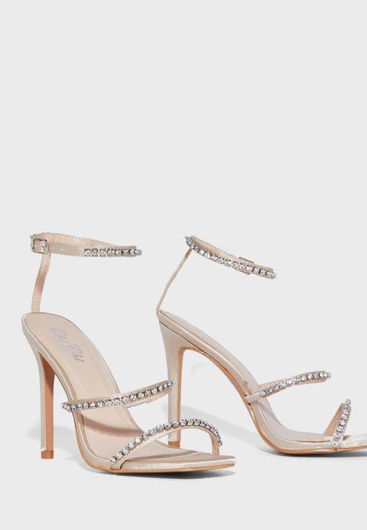 Stud Detail High Heel Sandal