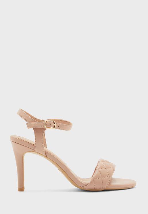 Quilt Ankle Strap High Heel Sandals