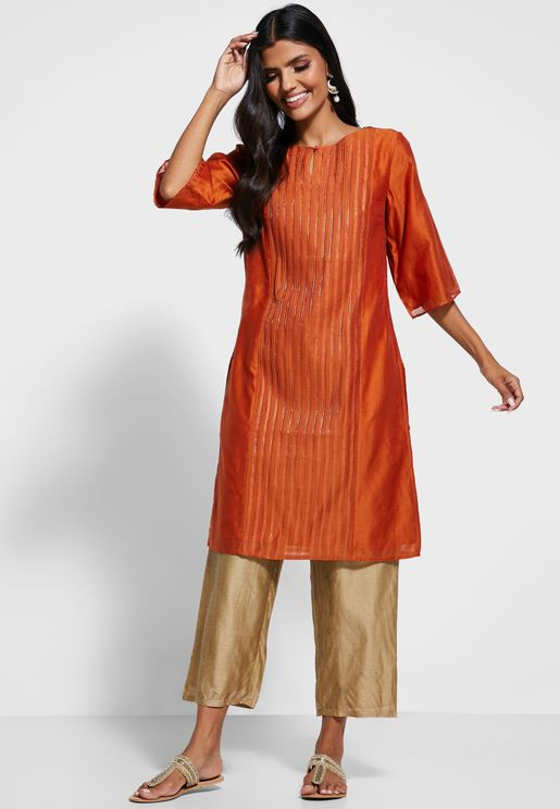 Side Split Striped Kurti