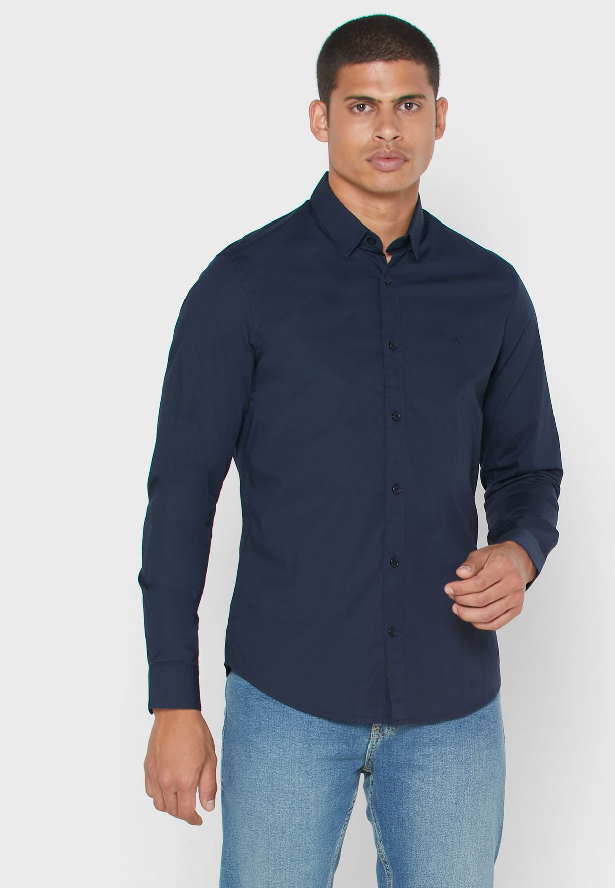 Camisa Lisa Slim Fit Shirt
