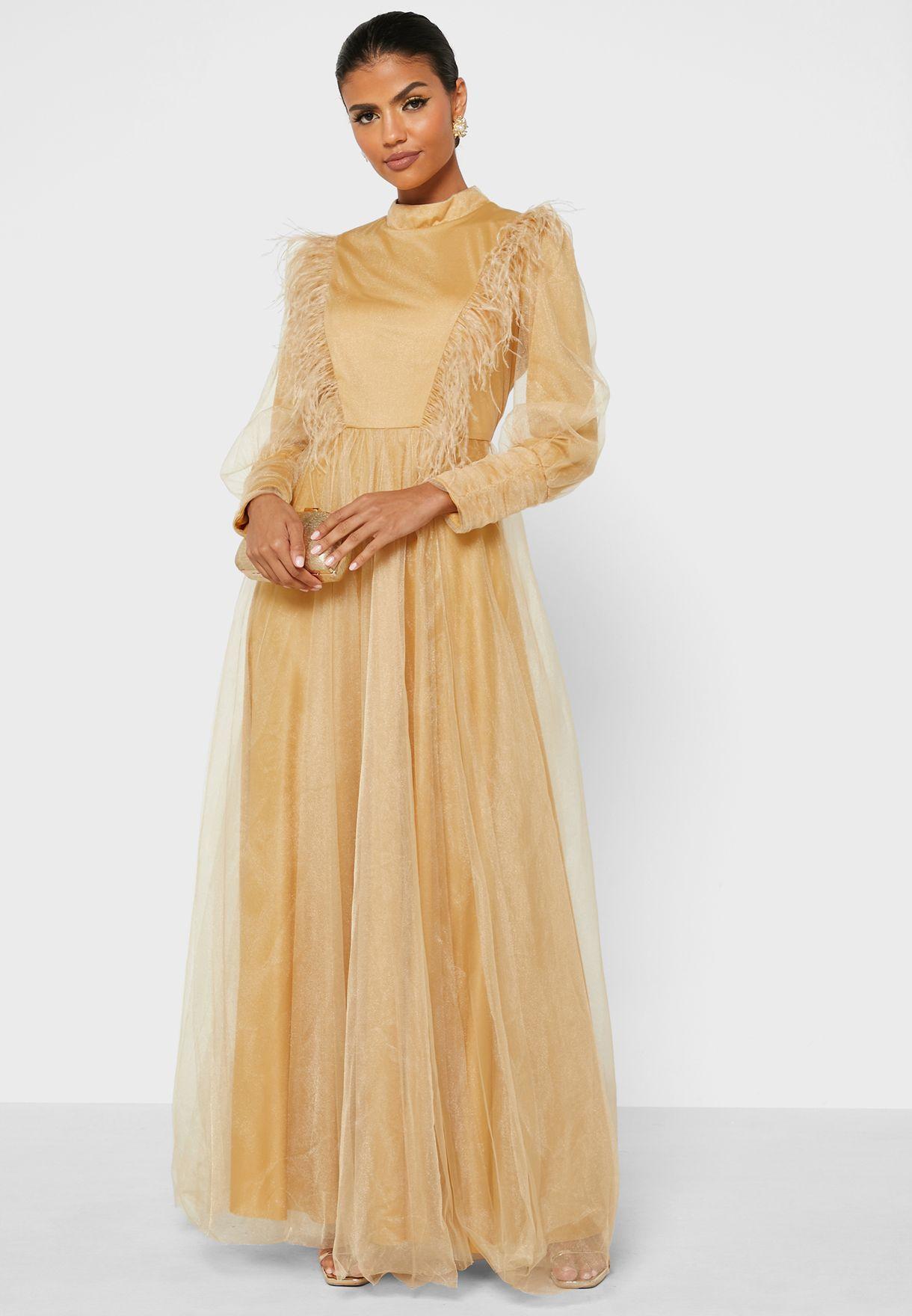Feather Trim Tule Dress